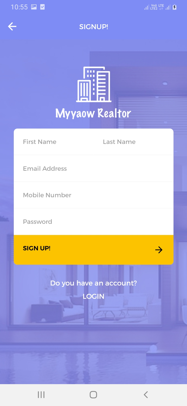 Myyaow Realtor Sign Up Screen