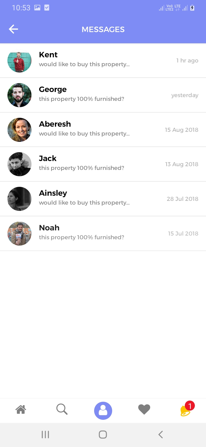 Myyaow Realtor Messages Screen