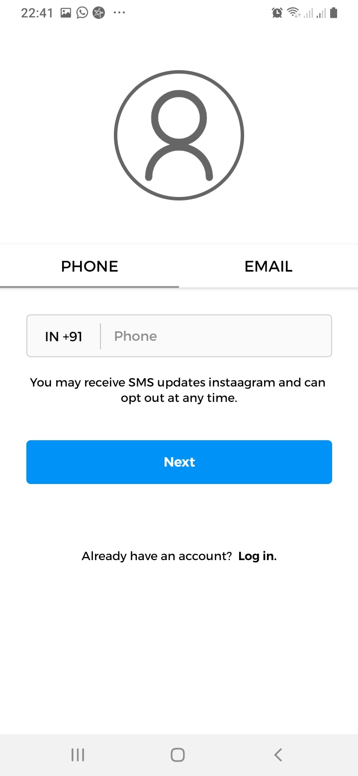 Instaagram Sign Up Screen