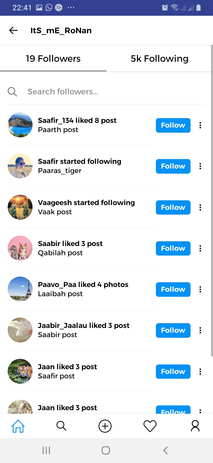 Instaagram Followers Screen