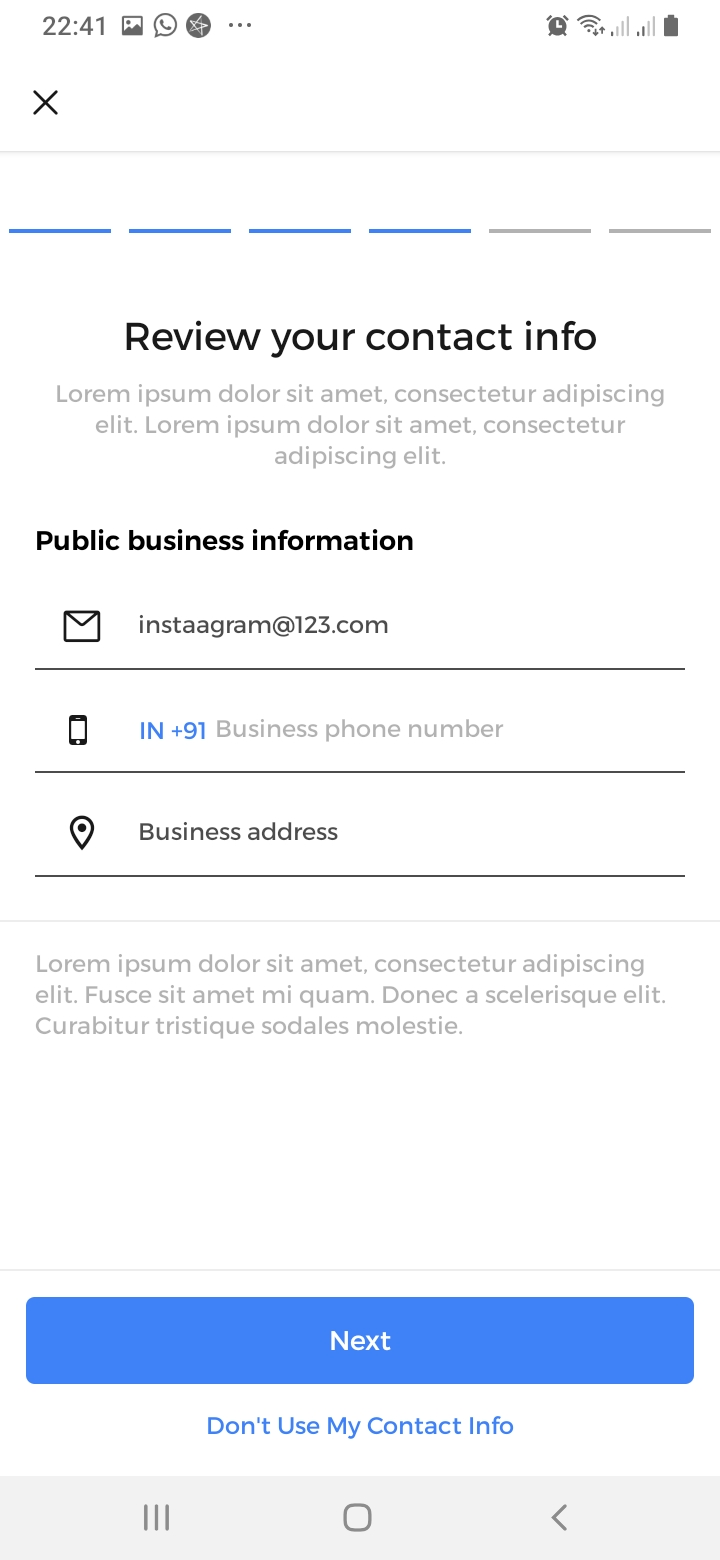 Instaagram Review Contact Details Screen