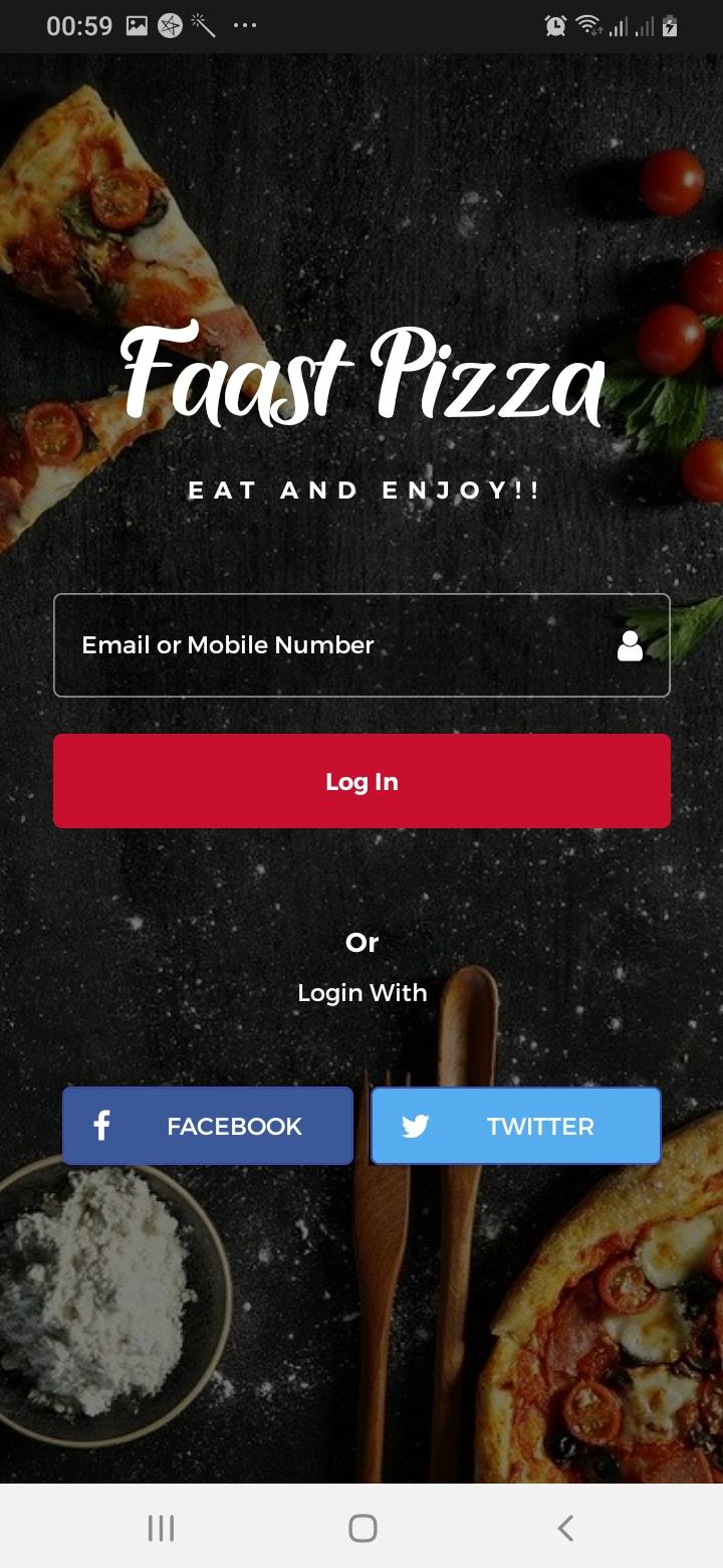 Faast Pizza Sign Up Screen