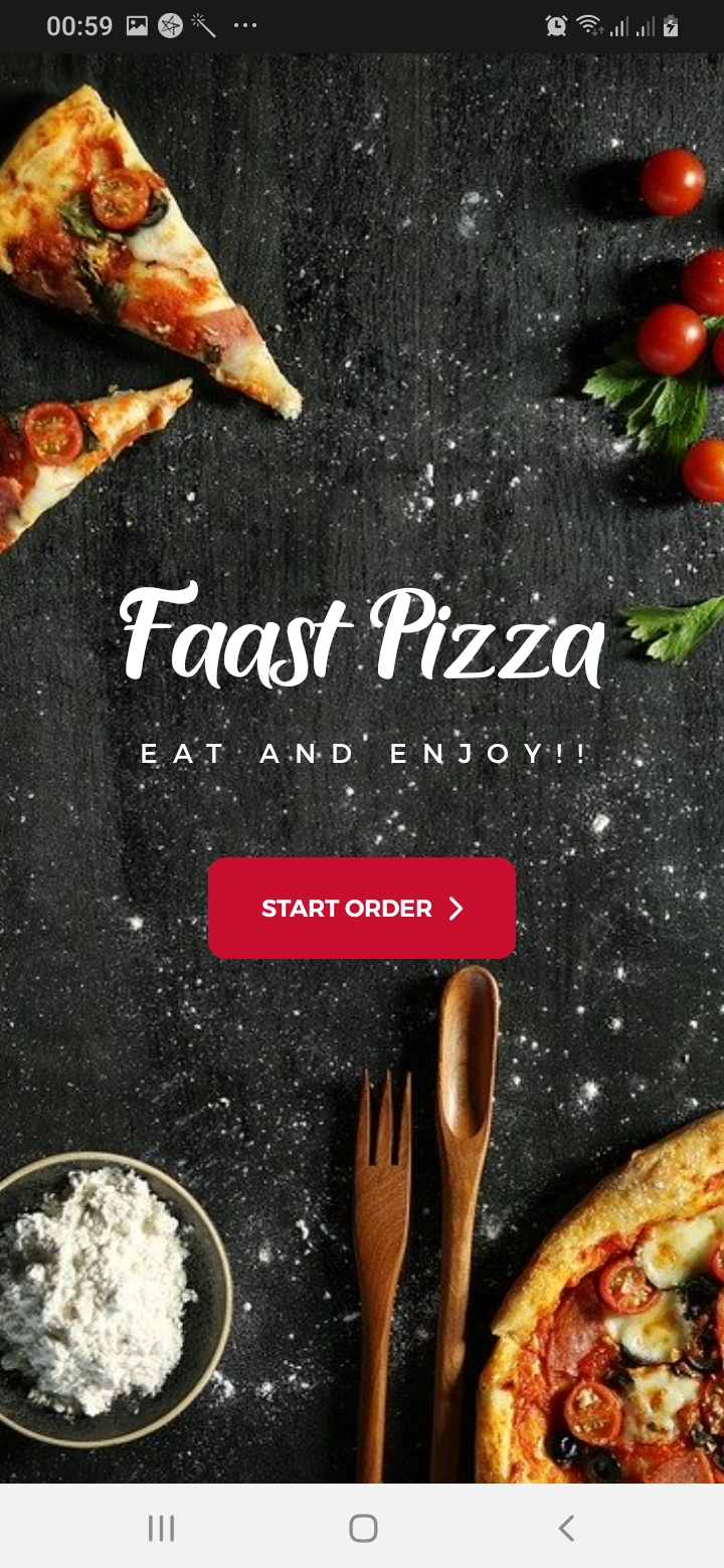 Faast Pizza Intro Screen