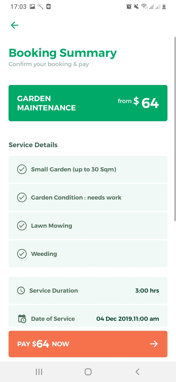 Lawn Clean Booking Summary Screen