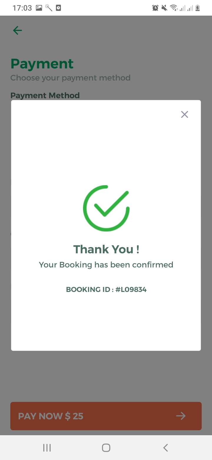 Lawn Clean Payment Confirmation Screen