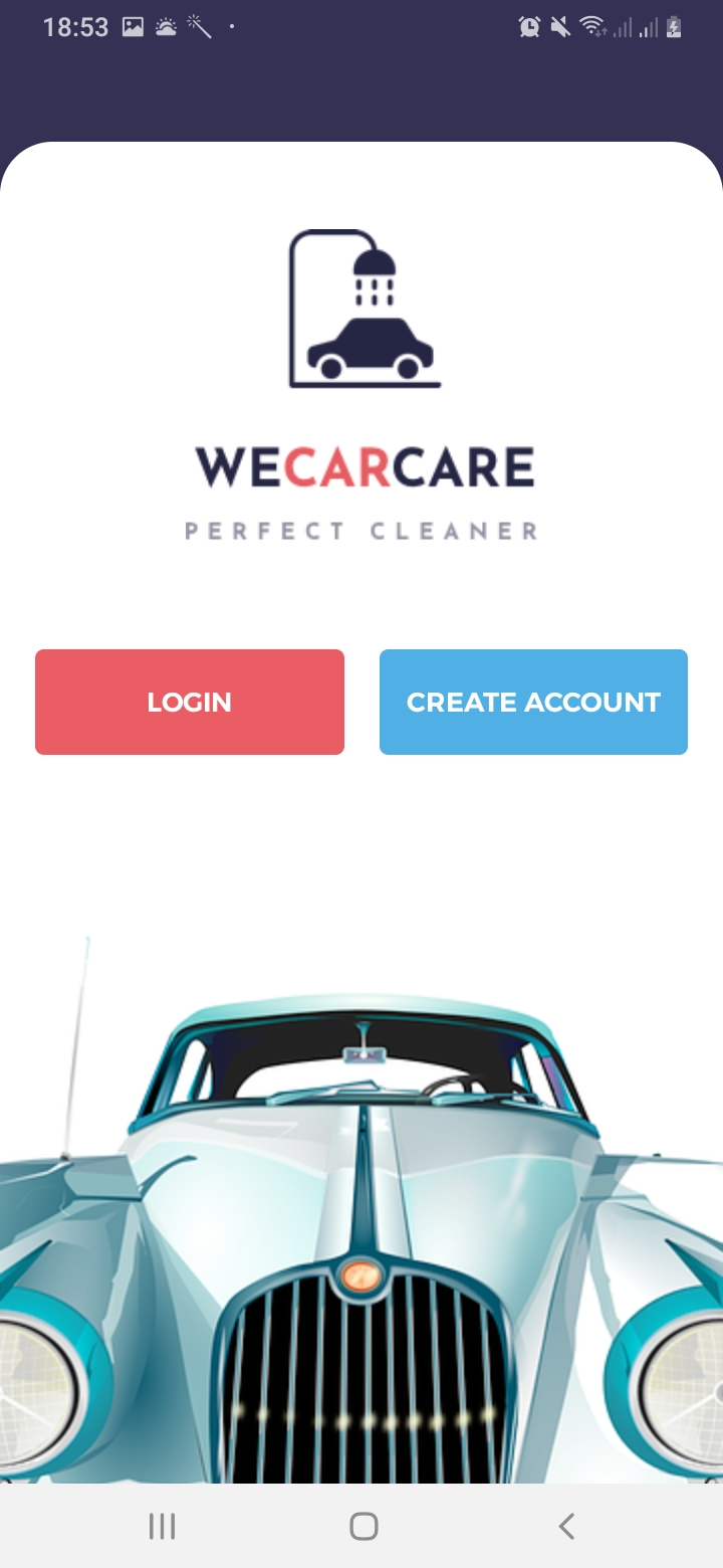 We Car Care Intro Screen