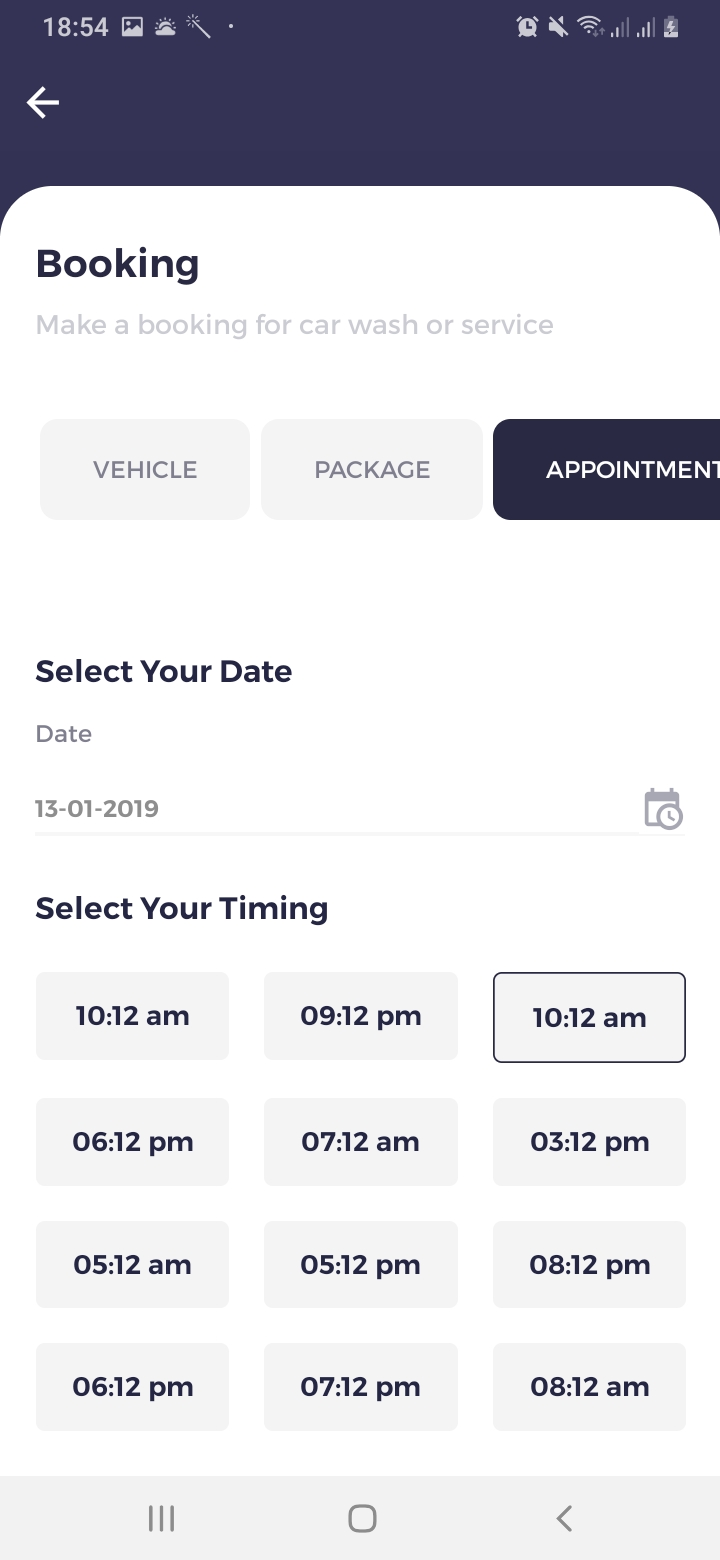 We Car Care Booking Appointment Screen