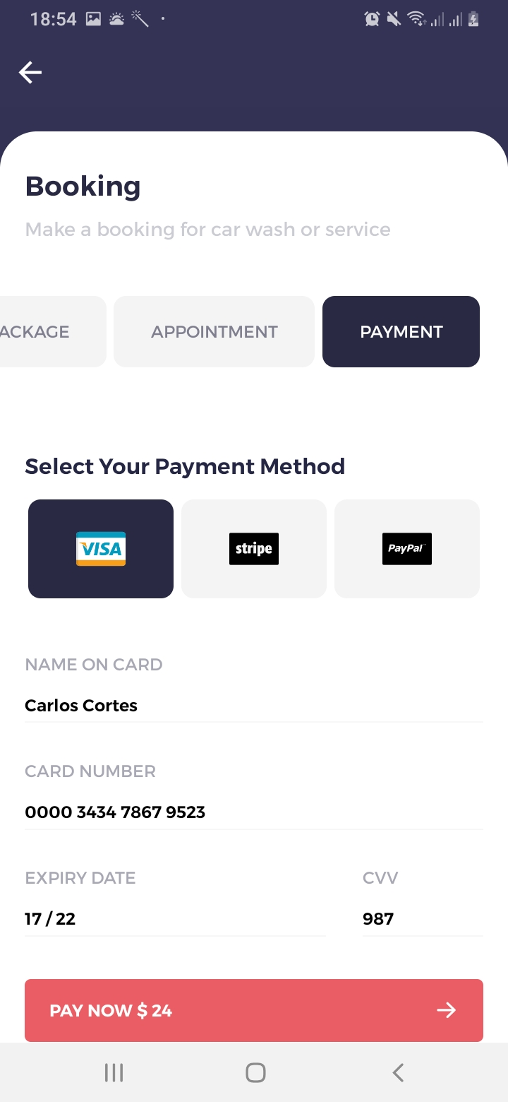 We Car Care Booking Payment Screen