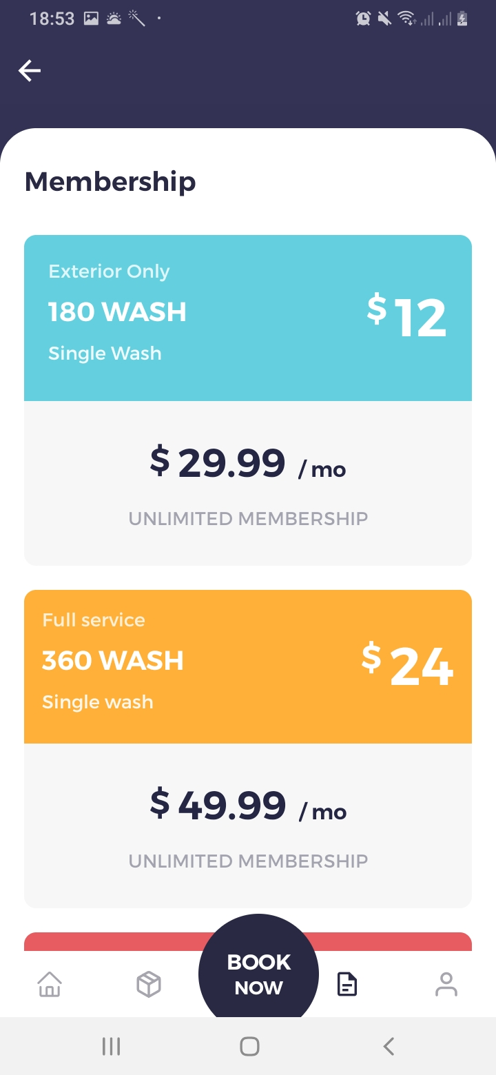 We Car Care Membership Screen
