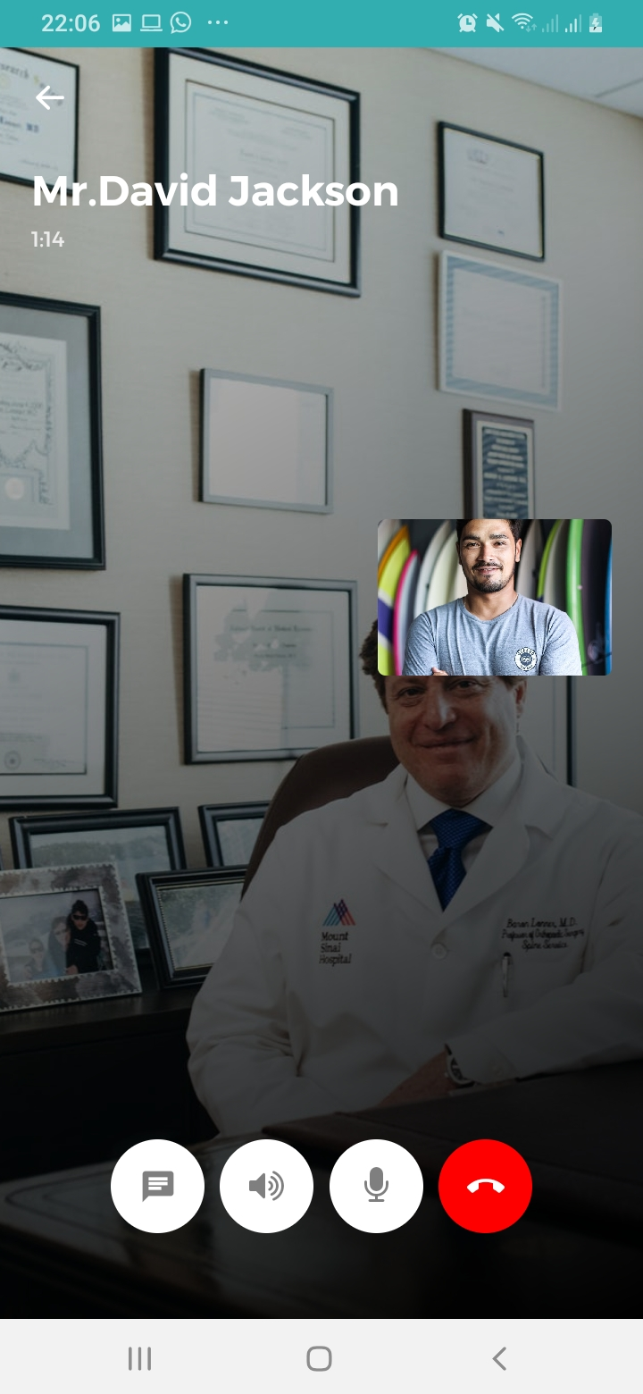 Mr.Doctor Video Call Screen