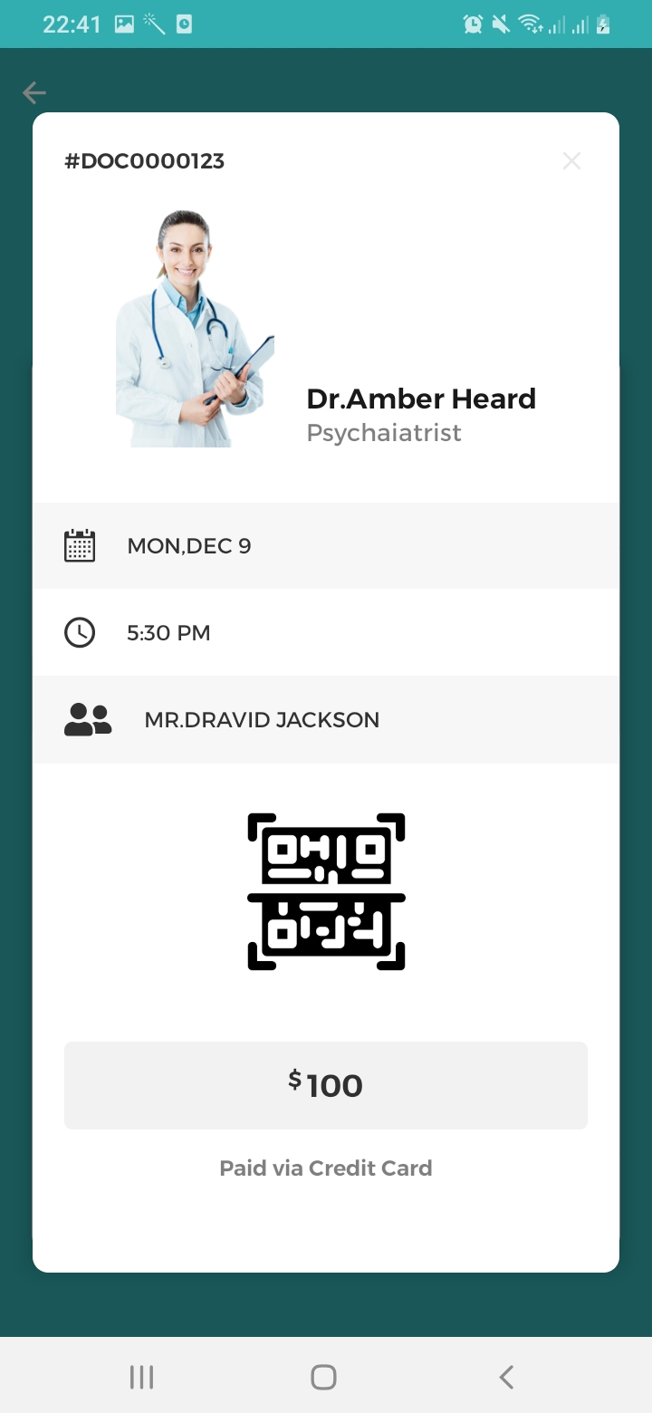 Mr.Doctor Booking Details Screen