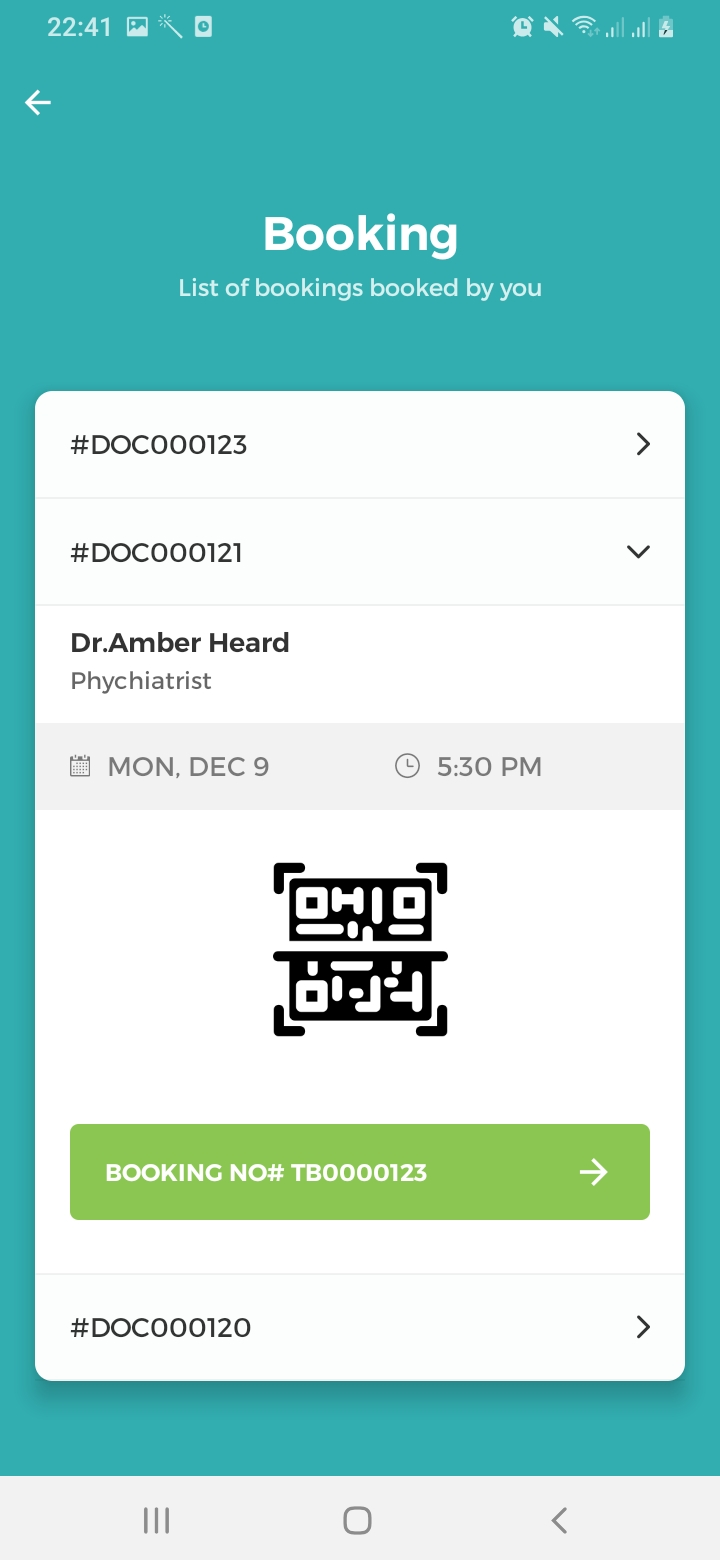 Mr.Doctor Bookings Screen