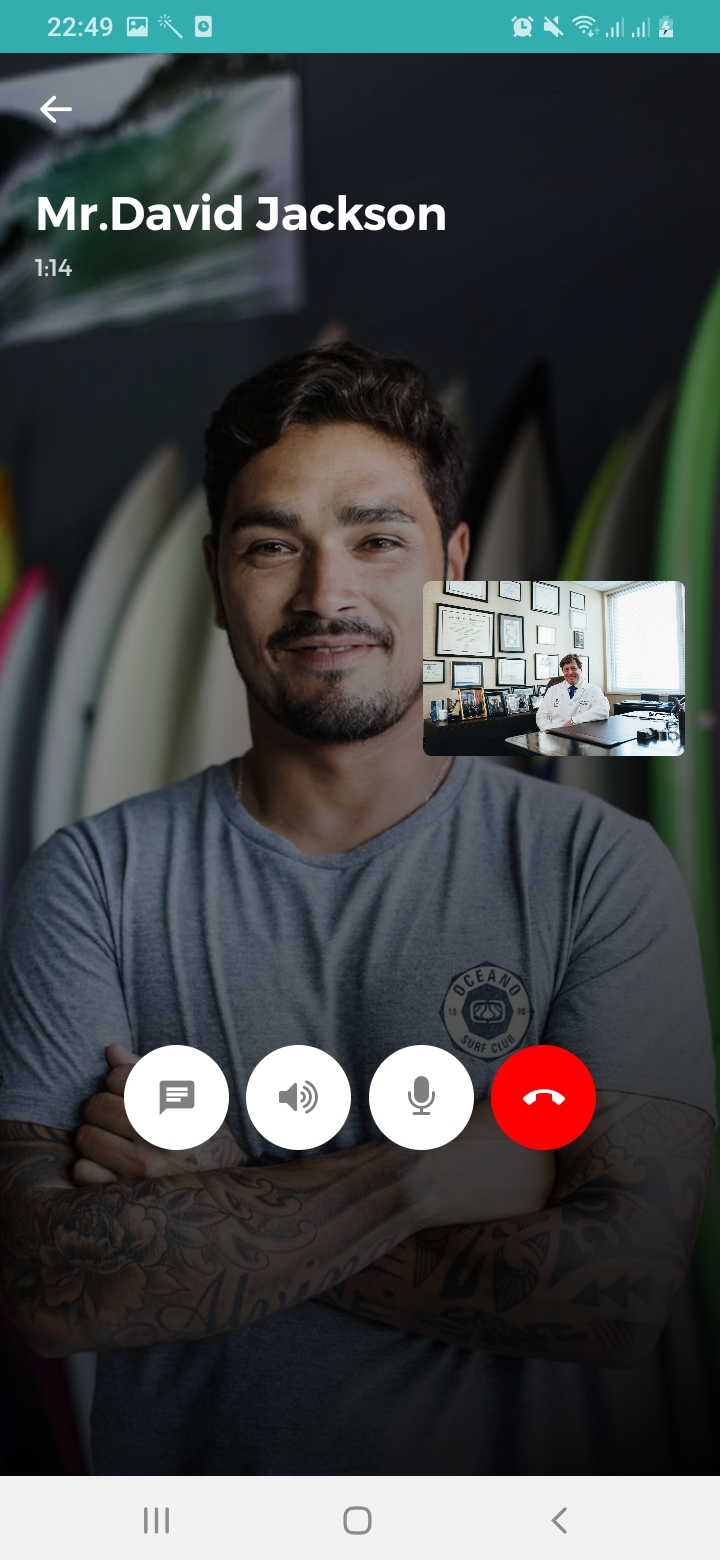 Mr.Doctor Patient Video Call Screen