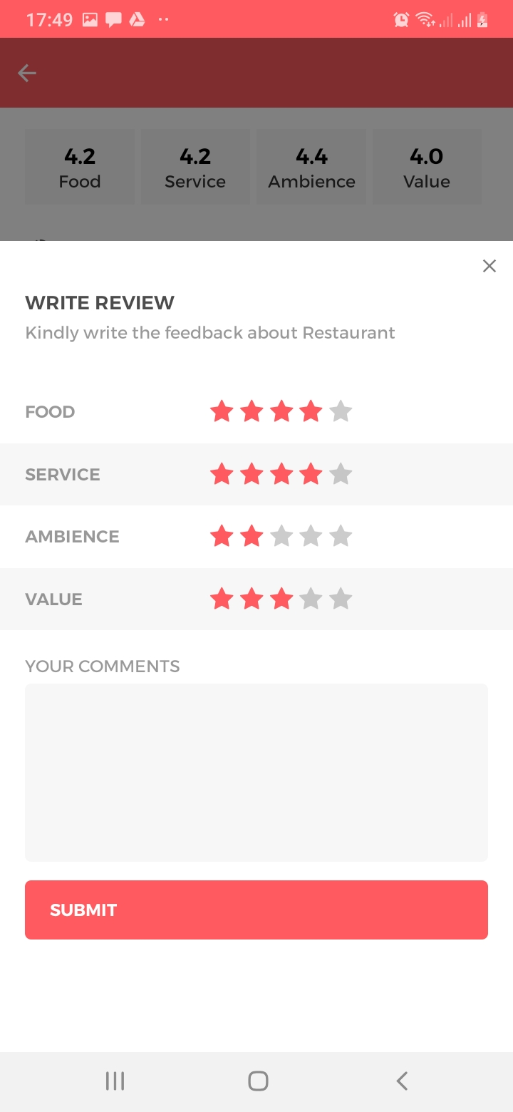 Table Bookie Restaurant - Review - Create Screen