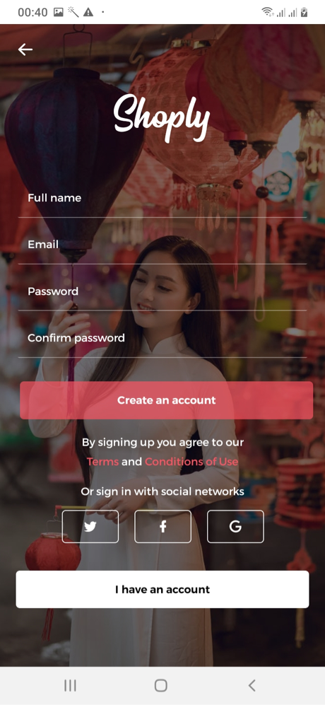 Shoply Sign Up Screen