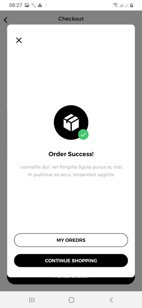 Mr&Mrs Smith Order Confirmation Screen