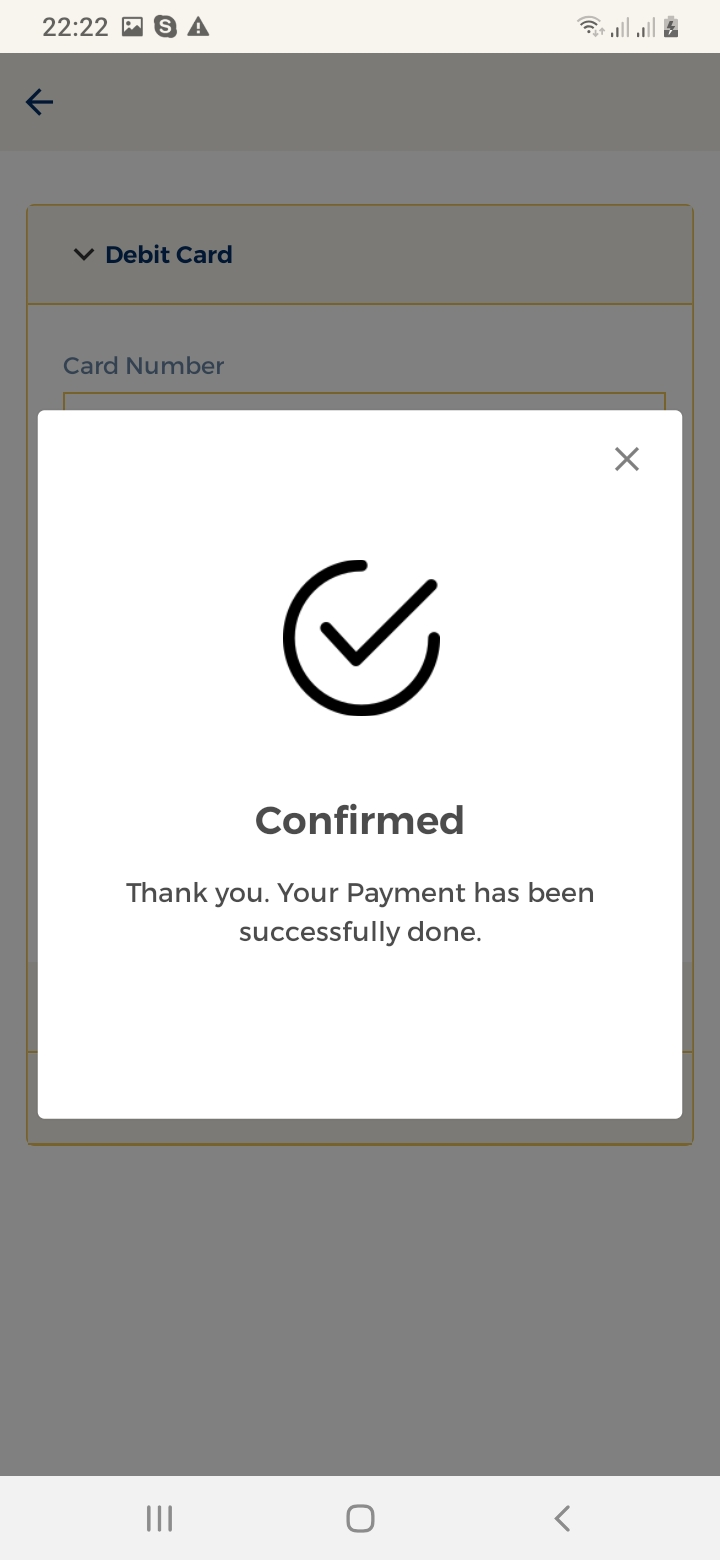 Maid Finder Payment Confirmation Screen