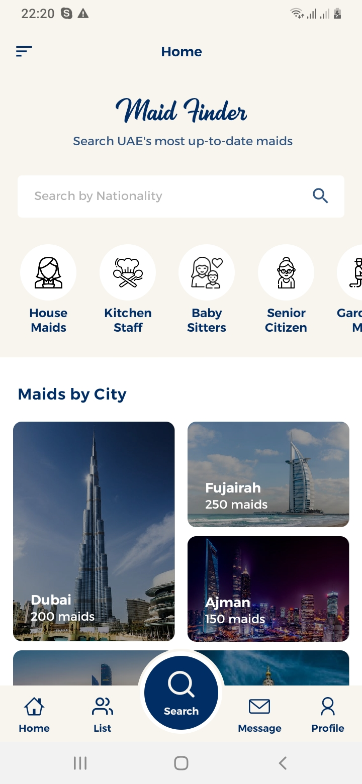 Maid Finder Home Screen