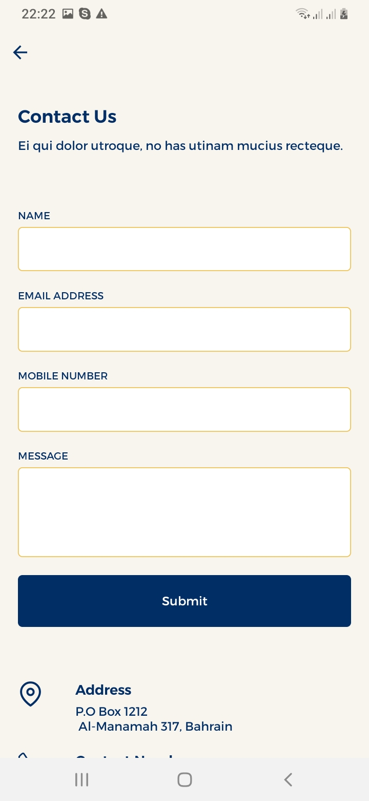 Maid Finder Contact Us Screen