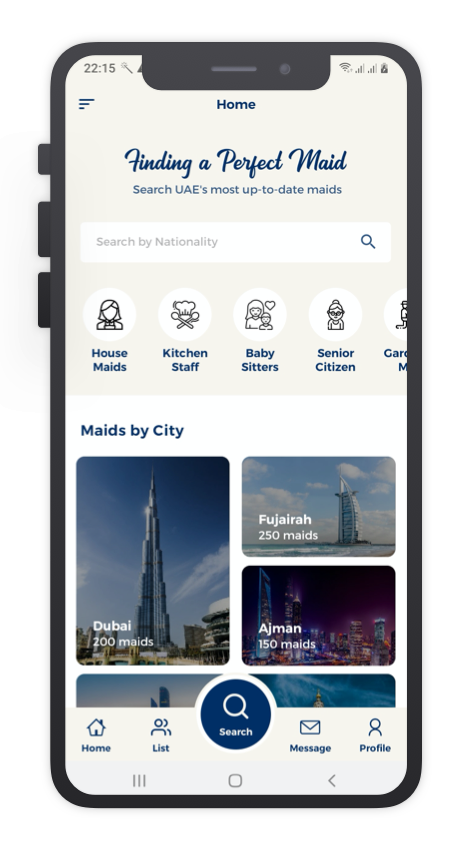 Maid Finder React Native App Template Features