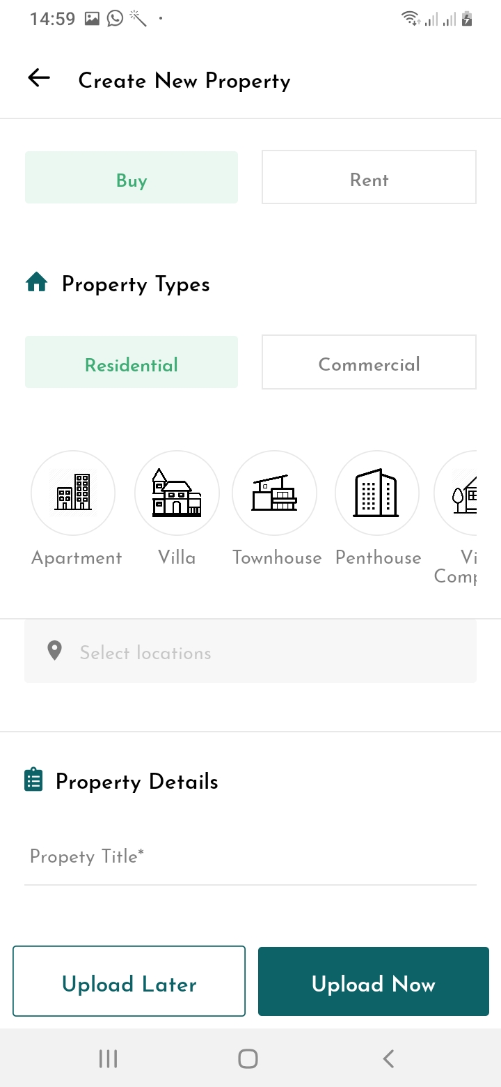 Realify Add Property Screen
