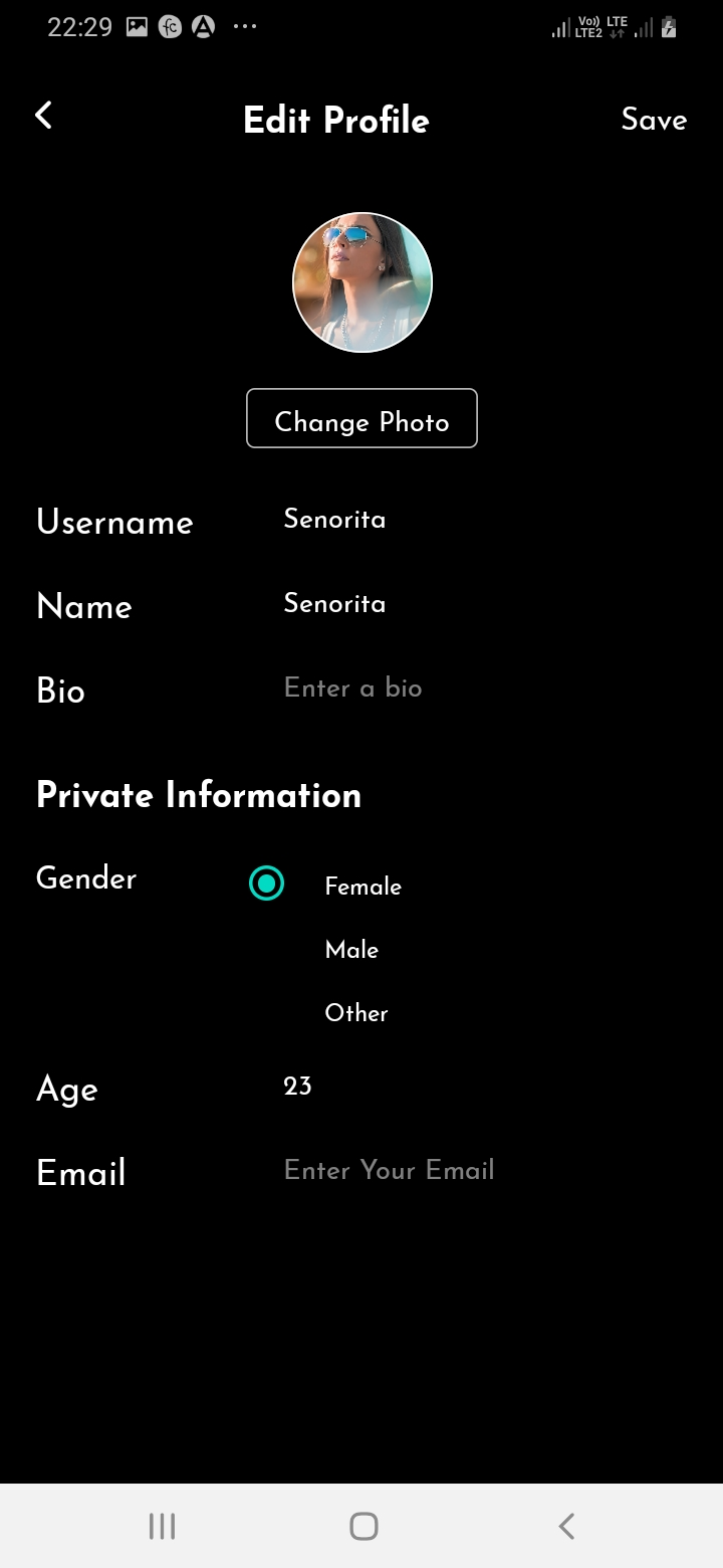 SnapTok Member Edit Profile Screen
