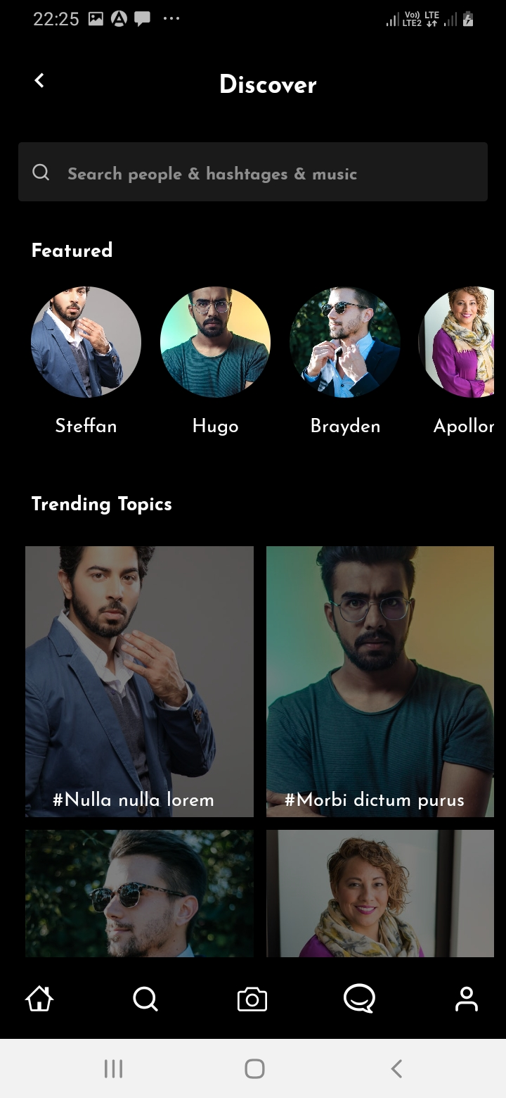 SnapTok Search Screen