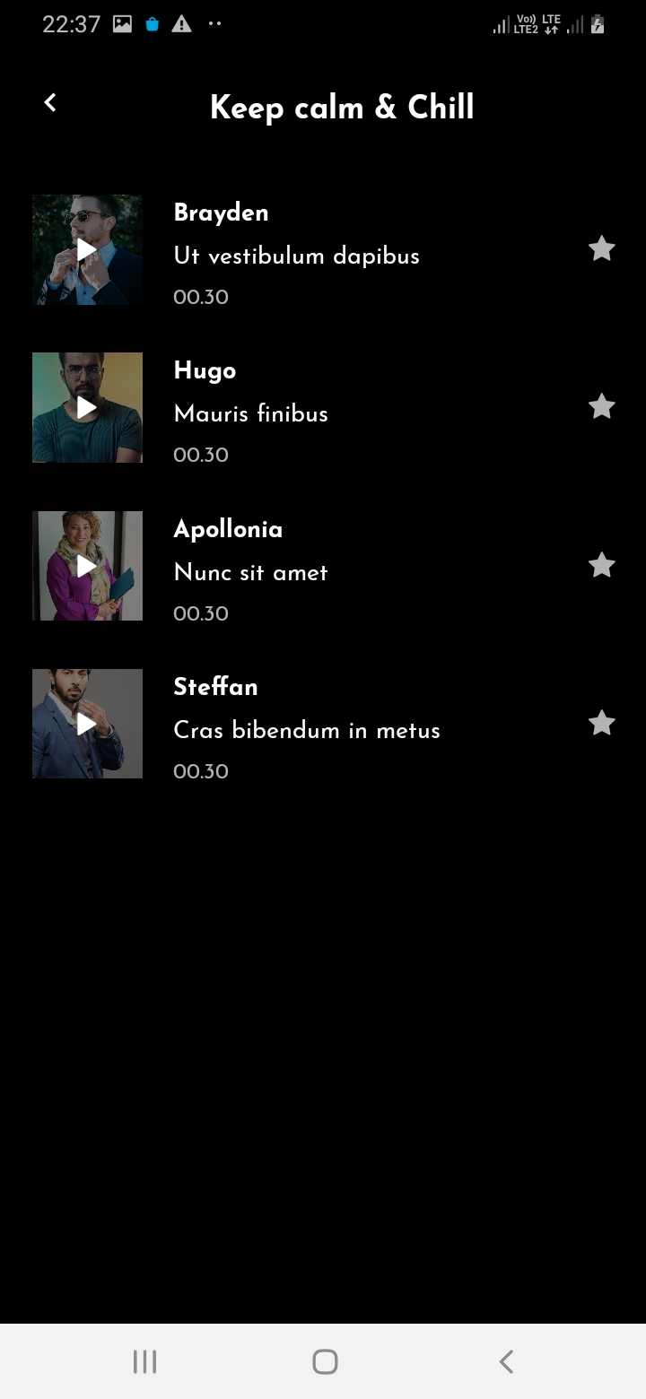 SnapTok Member Music List Screen