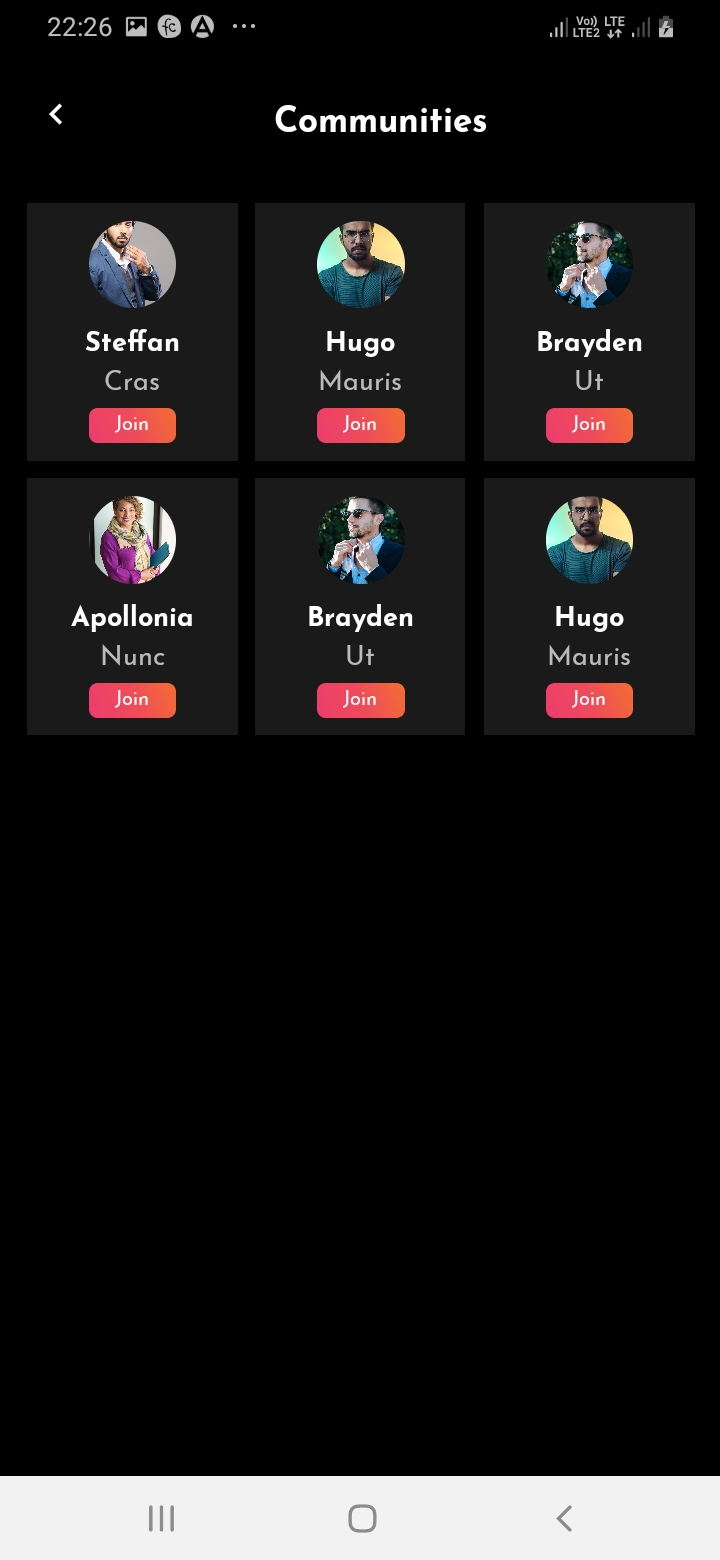 SnapTok Member Communities Screen