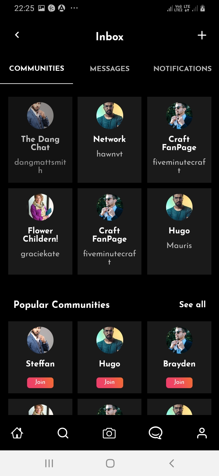 SnapTok Member Inbox Screen