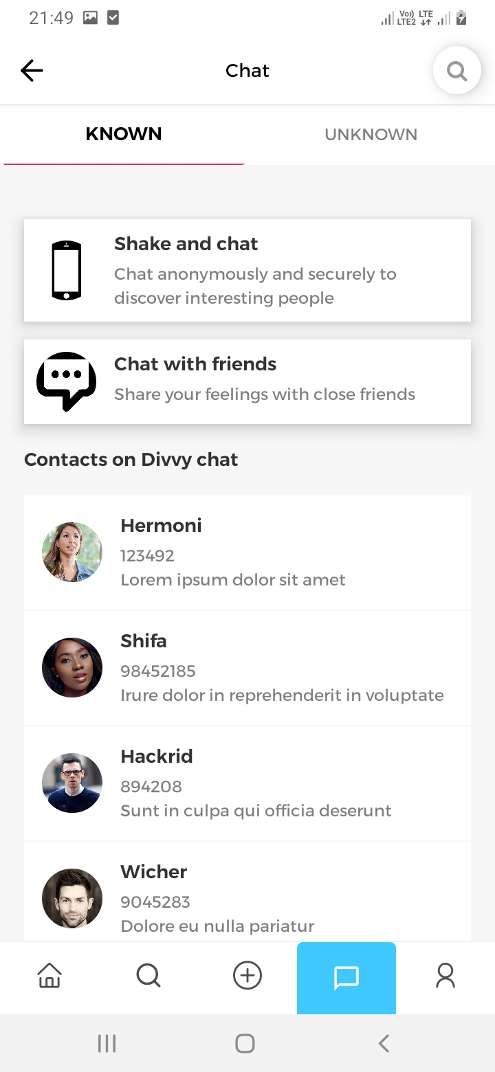 Divvy Chat Chat Screen