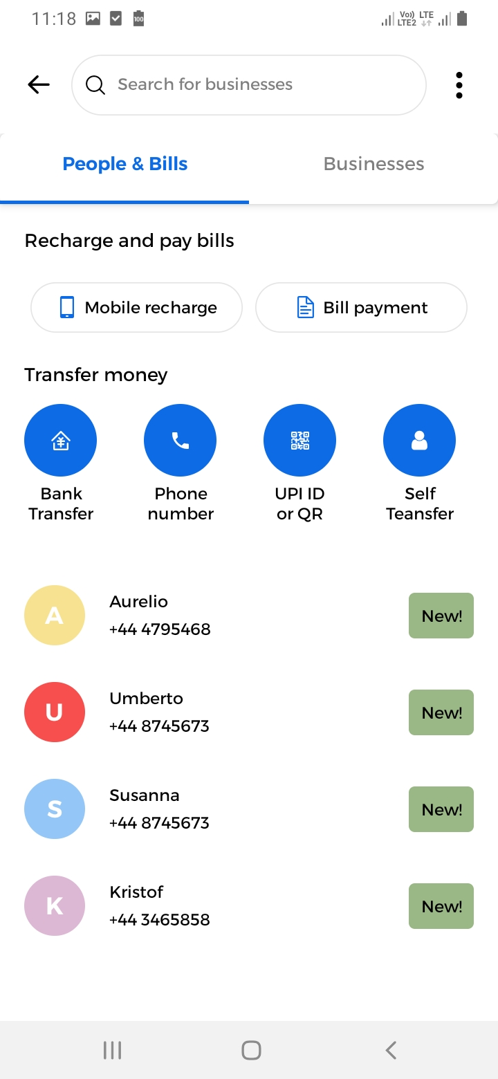 UPay New Payment Screen
