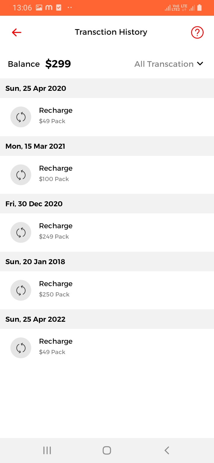 WeCharge Transaction History Screen