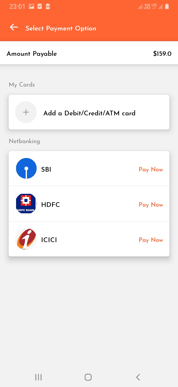 WeCharge Payment Option Screen