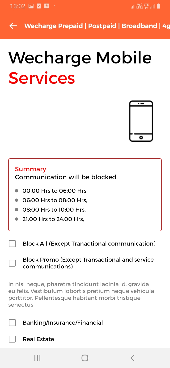 WeCharge Manage Services Screen