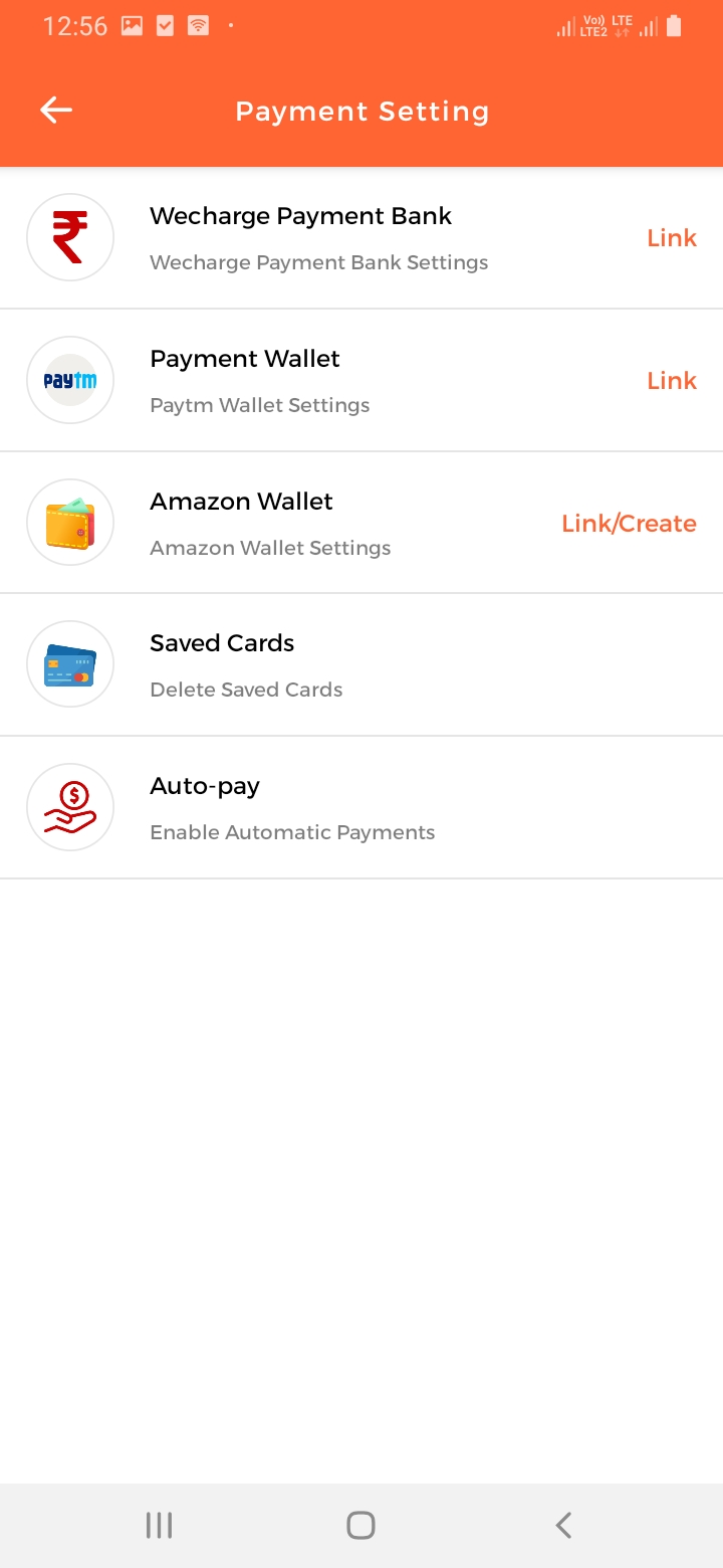 WeCharge Payment Setting Screen