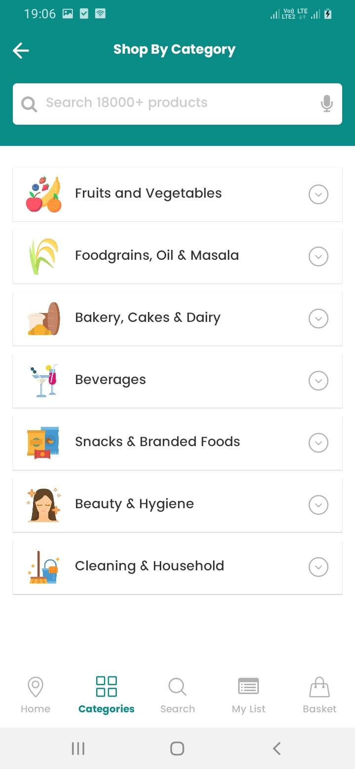eGrocery Category Screen