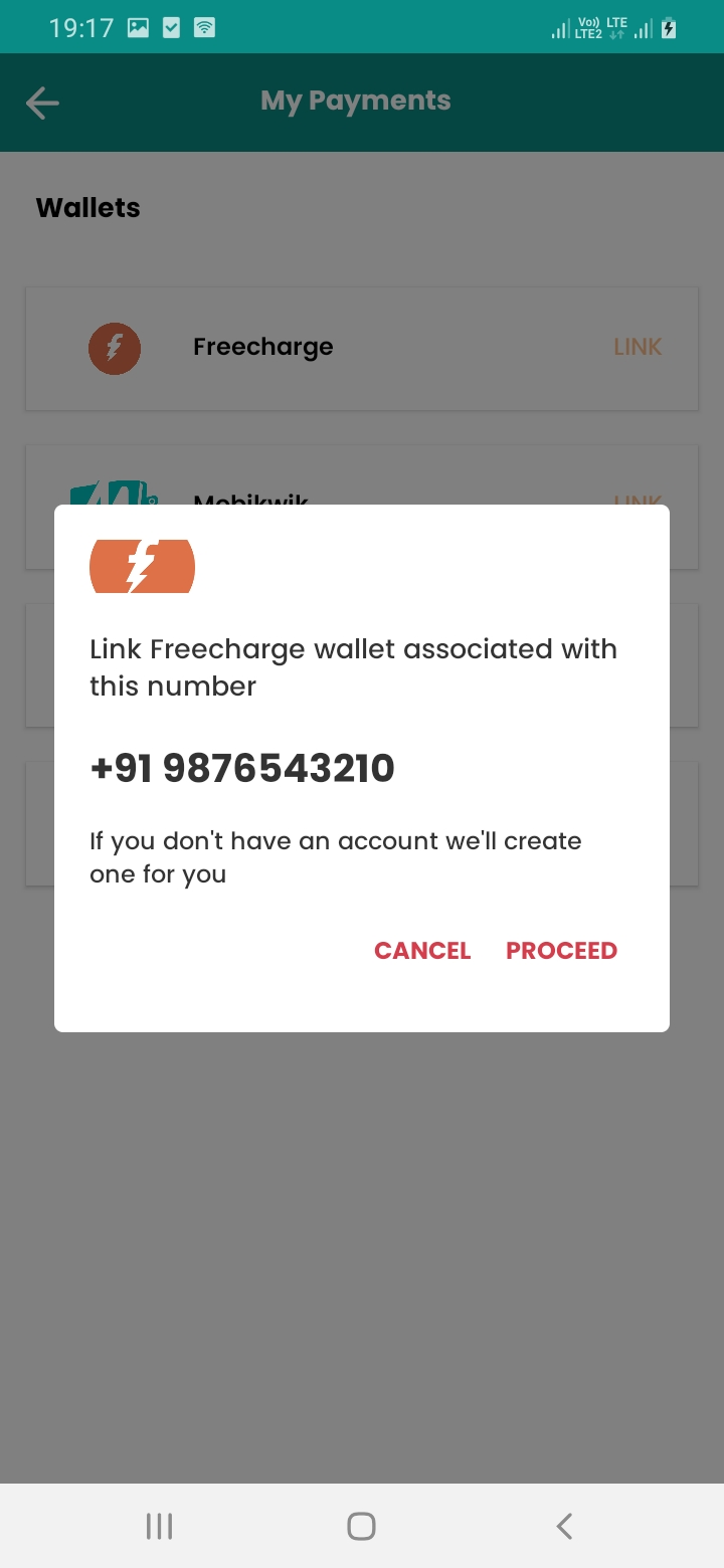 eGrocery Payment Link Screen