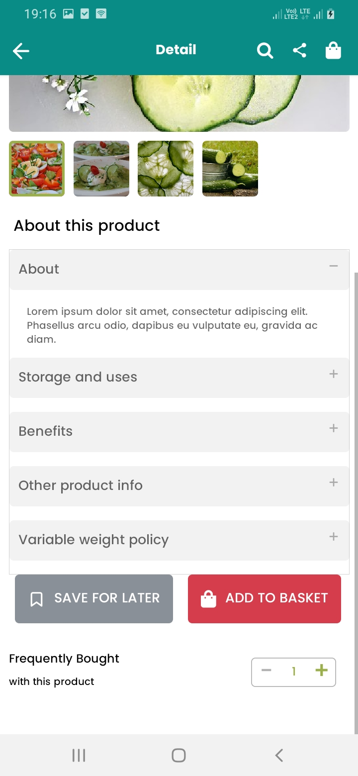 eGrocery Product Detail Continue Screen