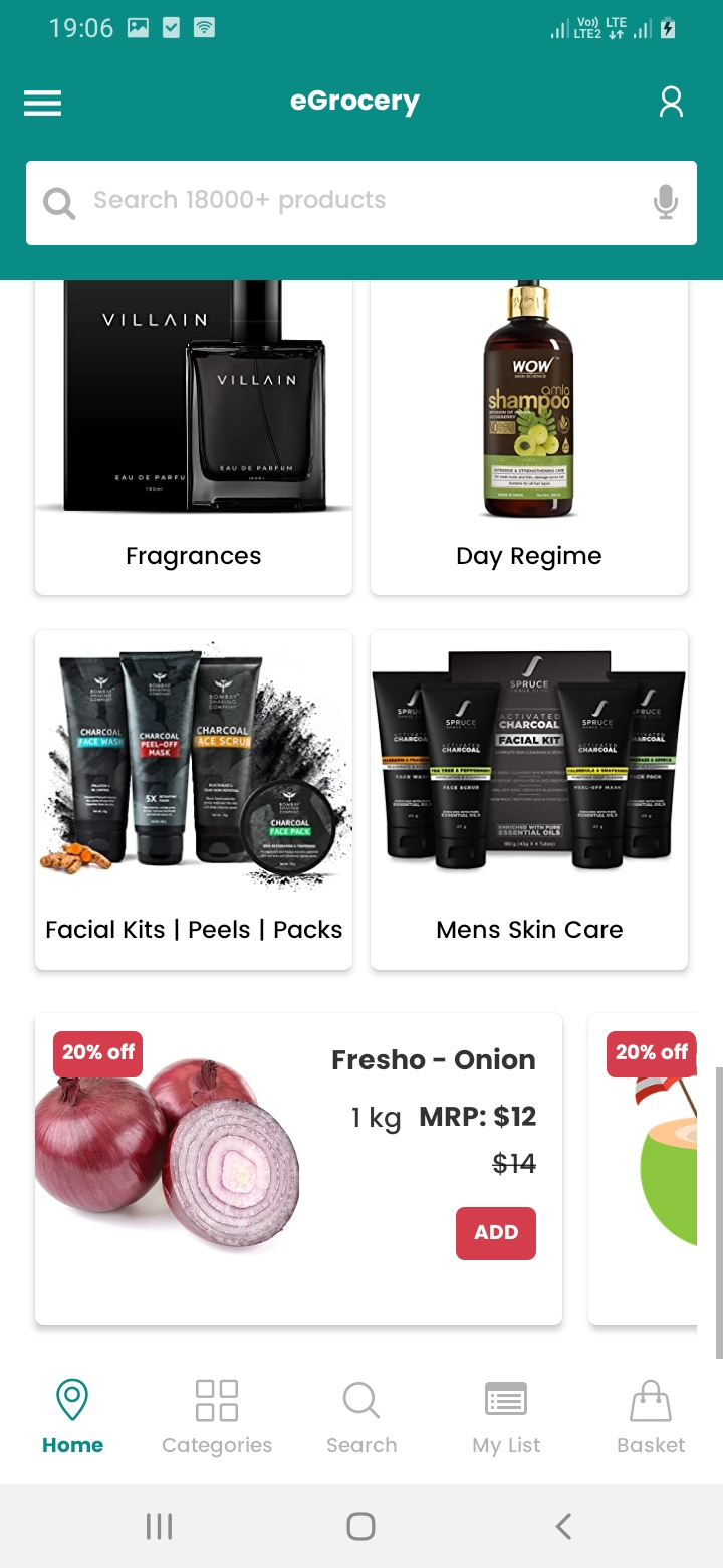 eGrocery Home Continue Screen