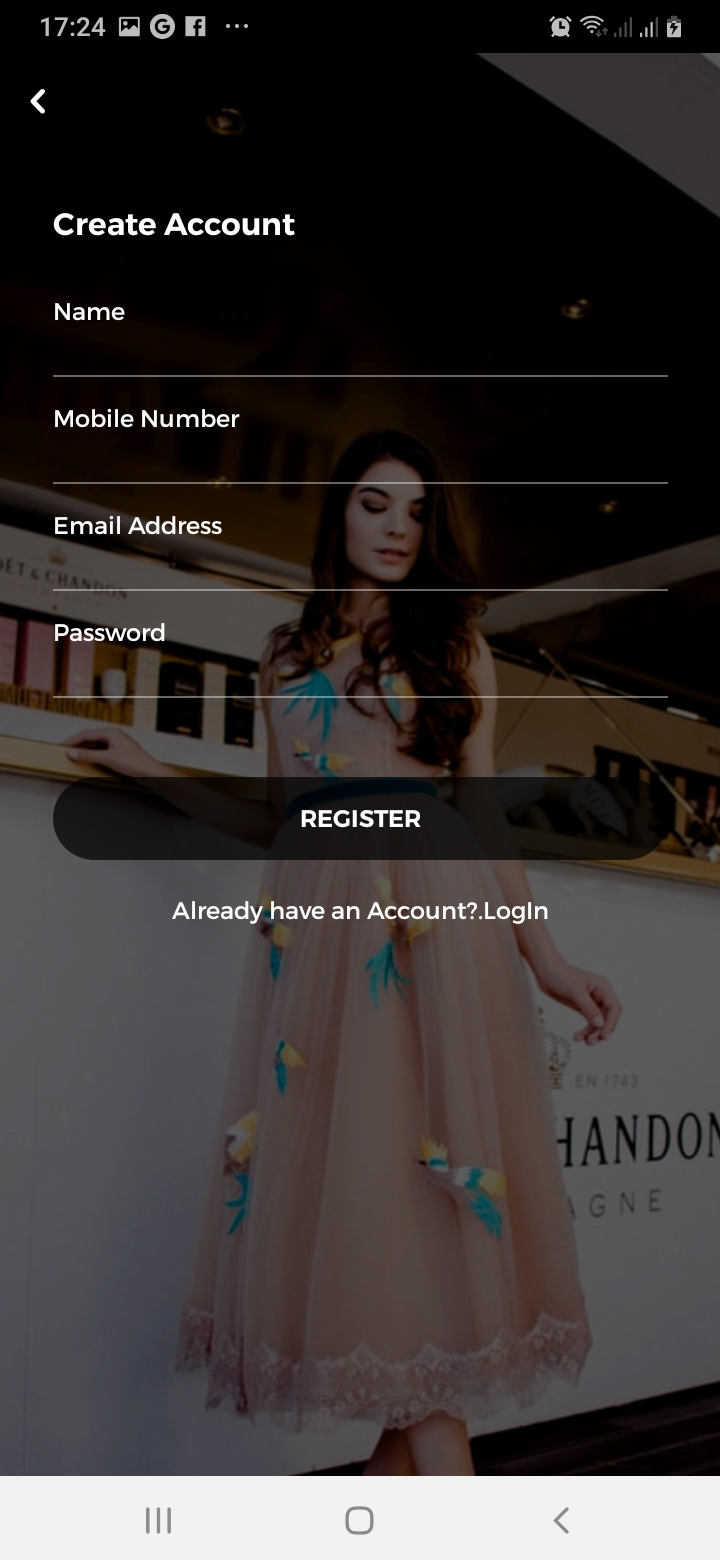 sTrendy Sign Up Screen