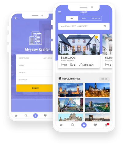 Myyaow Realtor React Native, Templates, Material Kit, UI/UX and App