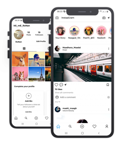 Instaagram React Native, Templates, Material Kit, UI/UX and App