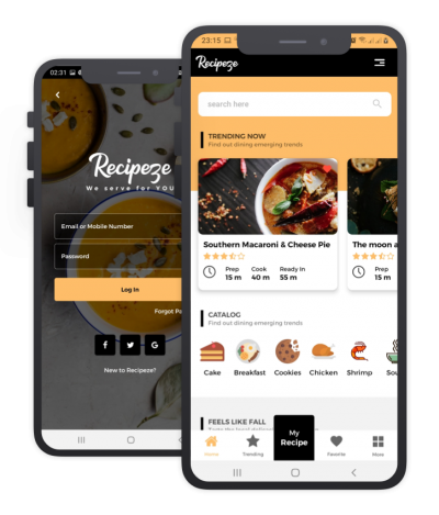 Recipeze React Native, Templates, Material Kit, UI/UX and App