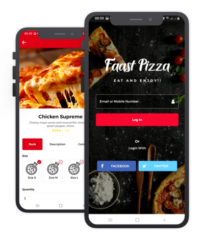 Faast Pizza React Native, Templates, Material Kit, UI/UX and App
