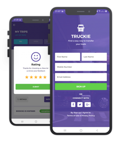 Truckie React Native, Templates, Material Kit, UI/UX and App