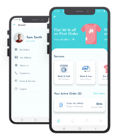 Quick Wash React Native, Templates, Material Kit, UI/UX and App