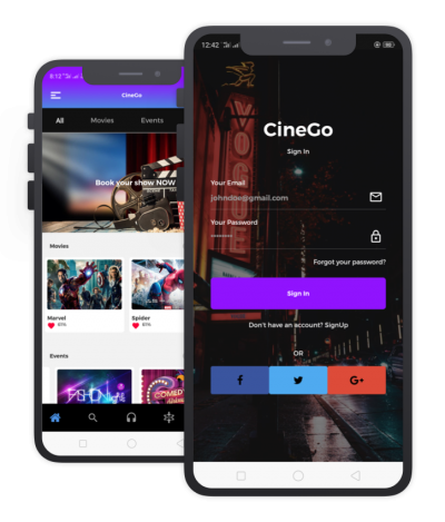 CineGoo React Native, Templates, Material Kit, UI/UX and App