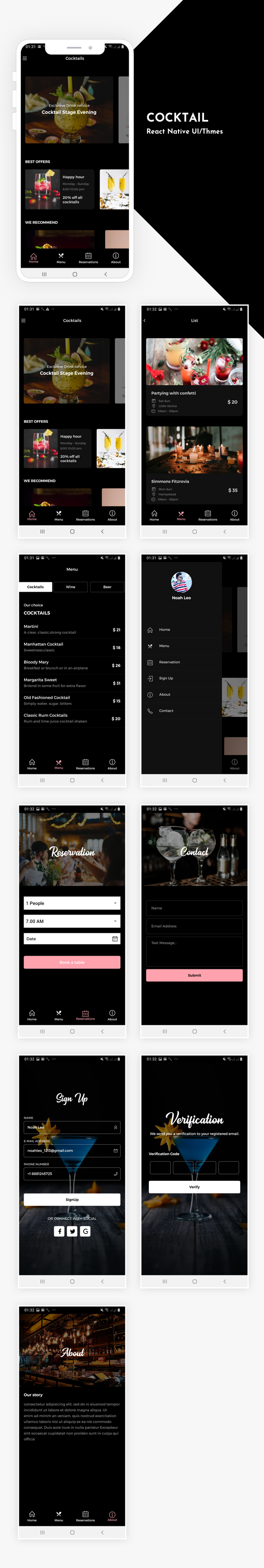 Cocktail Bar App UI